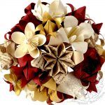 Red, white, gold, paper flower bouquet, by the origami boutique.