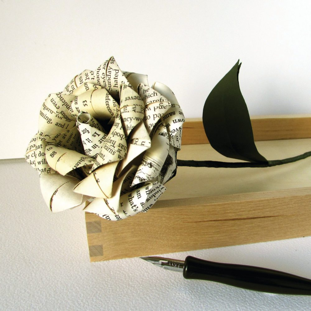 Recycled book pages rose, perfect first anniversary gift, hand folded by the Origami Boutique.
