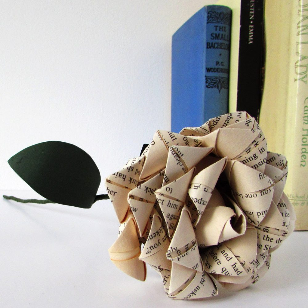 First anniversary paper rose, hand folded by the origami boutique.