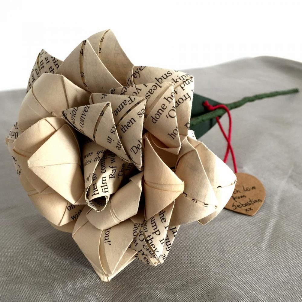 Hand folded origami paper rose, with personalised gift tag, by the Origami boutique.