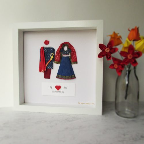 Bespoke Asian First Wedding Anniversary Couples Frame, exclusively handmade by the origami boutique, london.