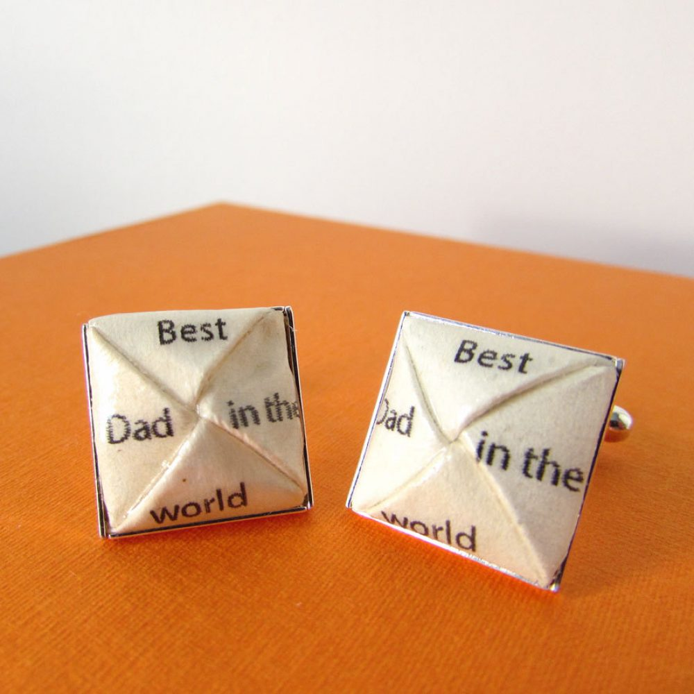Best dad in the world cufflinks, handmade by the origami boutique, London.