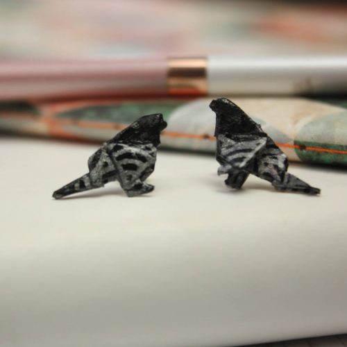 Hand folded origami bird earrings, in black and silver waves. Hand made by the Origami Boutique in London.