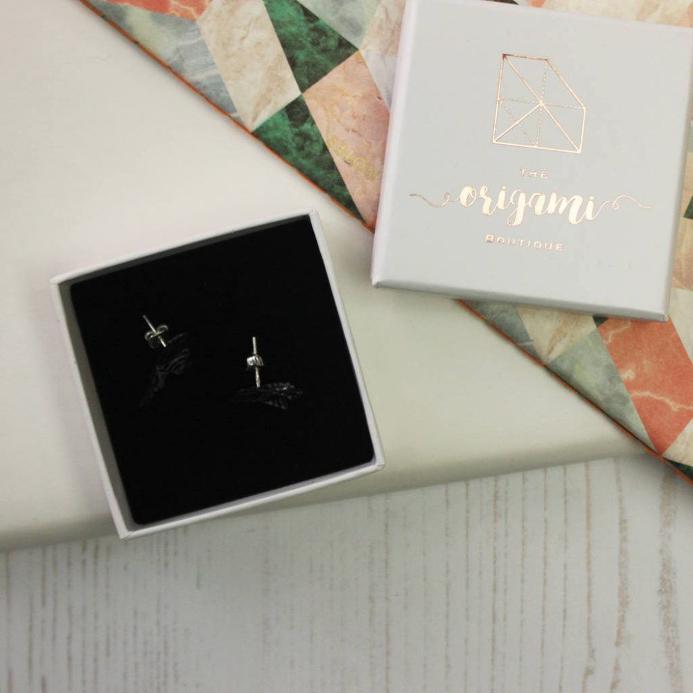 Hand folded origami bird earrings, delivered in gold foil gift box. Hand made by the Origami Boutique in London.