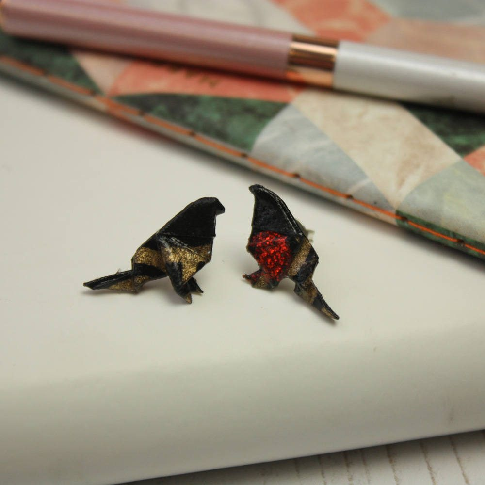Bird origami earrings, hand folded in London by the origami boutique from water resistant paper.