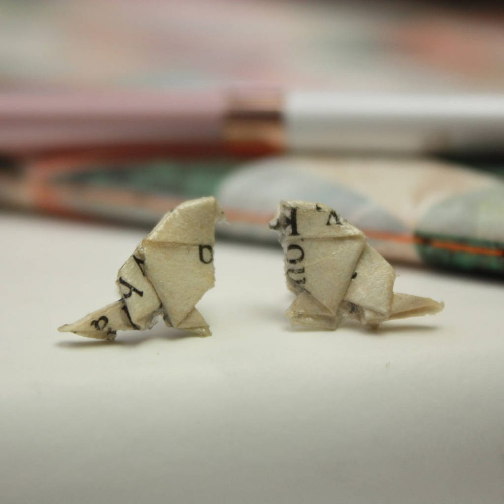Bird origami earrings, in book pages. Hand folded by the Origami Boutique, London.