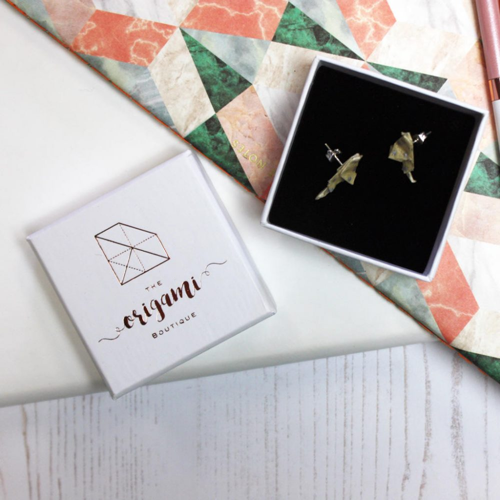 Bird origami earrings, in polka dots. Hand folded by the Origami Boutique, London.