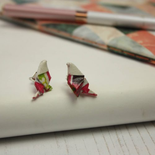 Origami bird studs in carnival pattern, water resistant- the origami boutique.