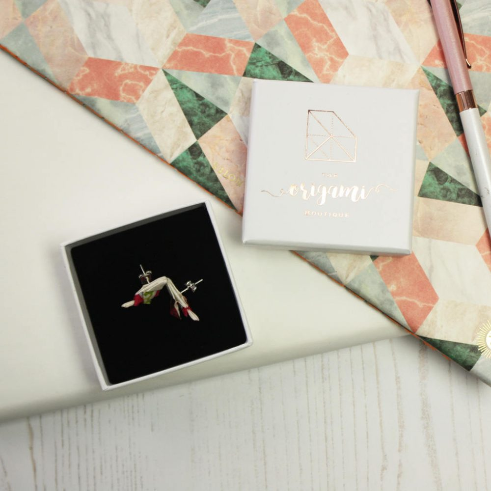 Origami bird earrings, in white presentation box.