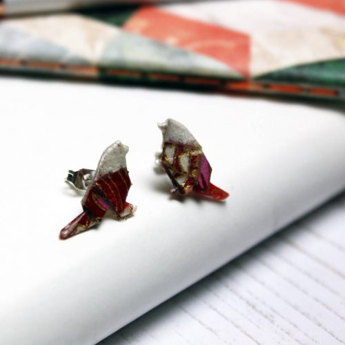 Origami carnival bird stud earrings. Handmade by the origami boutique.