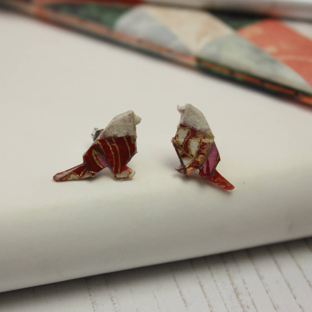 Origami carnival bird stud earrings. Dainty and comfortable. Handmade by the origami boutique.