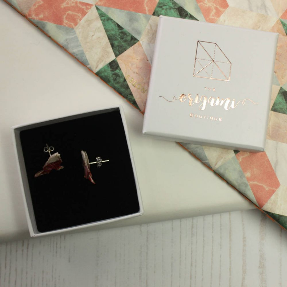 Origami carnival bird stud earrings. Dainty and comfortable. Handmade by the origami boutique. Earrings arrive in white jewellery box.