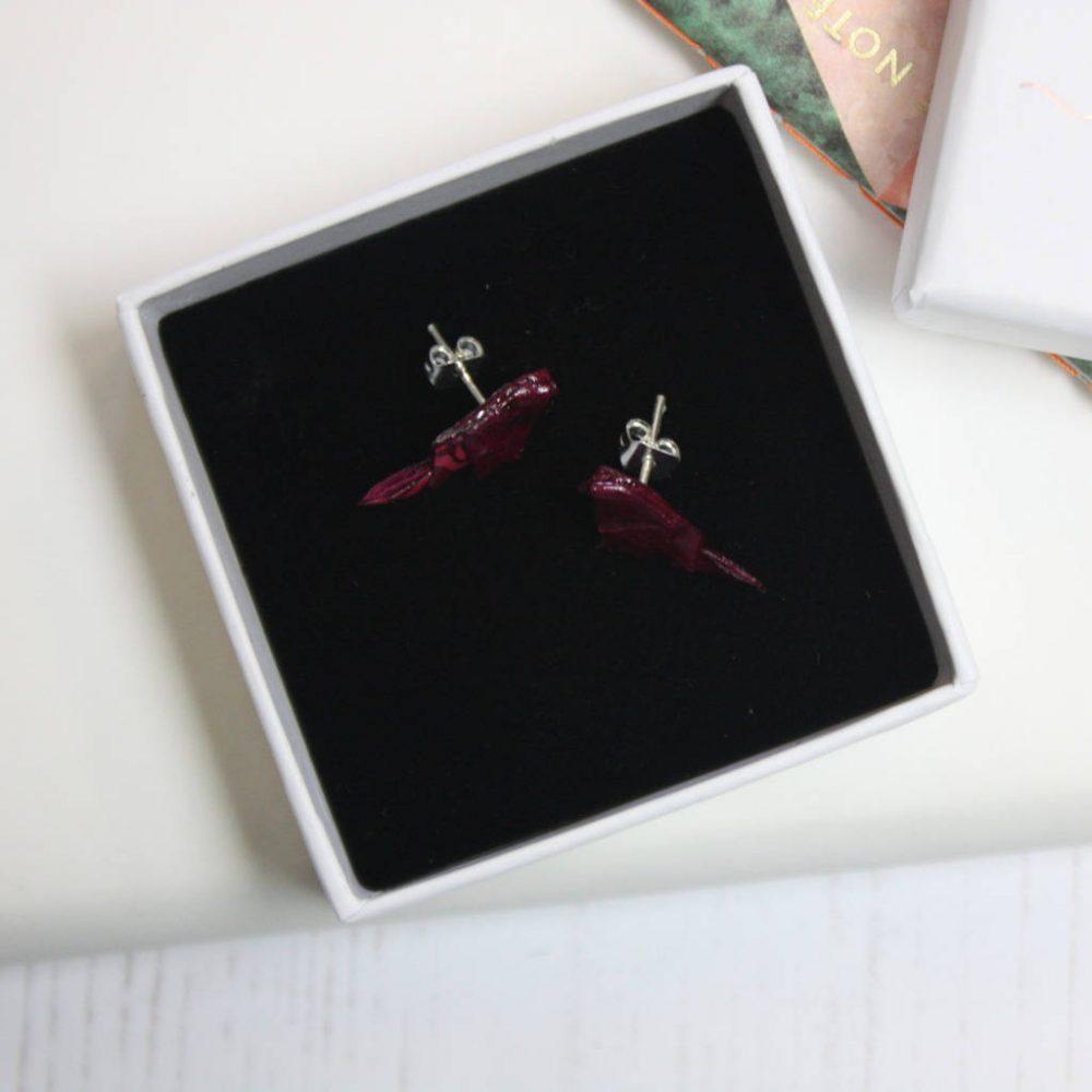 Paper bird earrings in white presentation box.