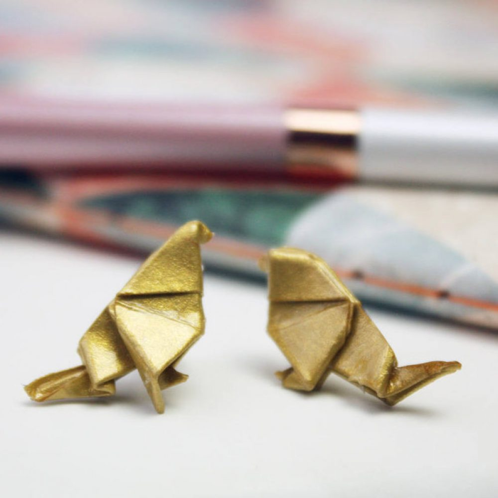 Bird origami jewellery, in metallic gold, from the origami boutique.