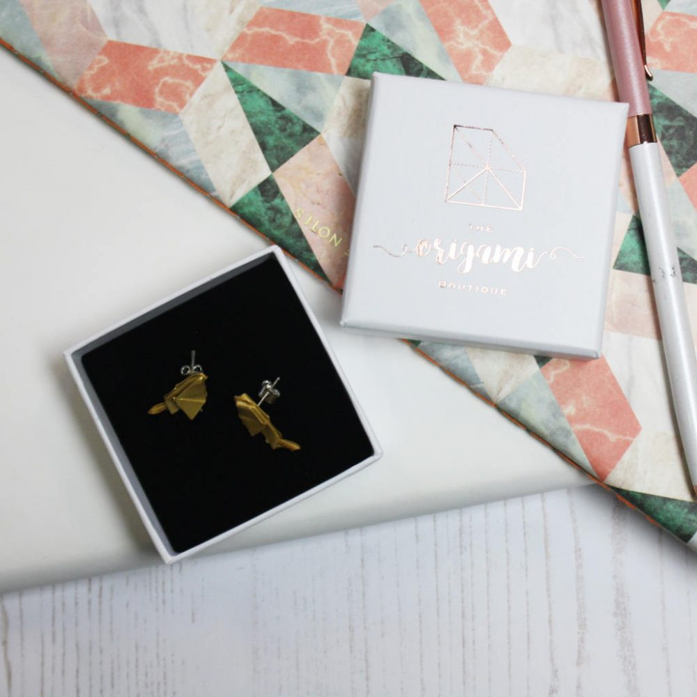 Bird origami earrinngs, in metallic gold, from the origami boutique, in gold foil gift box.