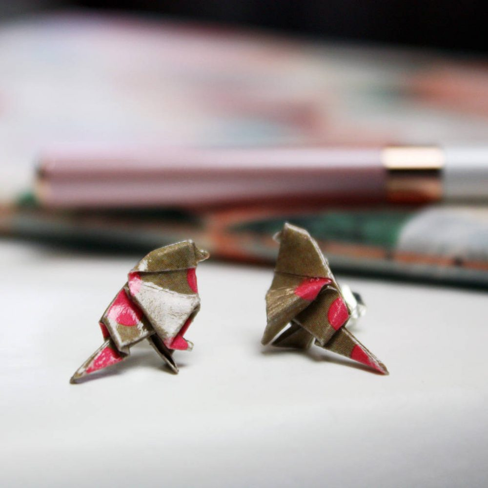 Pink polka dot origami bird earrings. The origami boutique, London.
