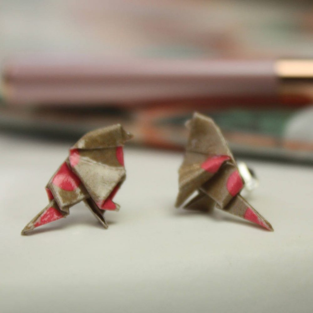 Pink and kraft polka dot stud bird earrings. Folded by hand at the origami boutique.