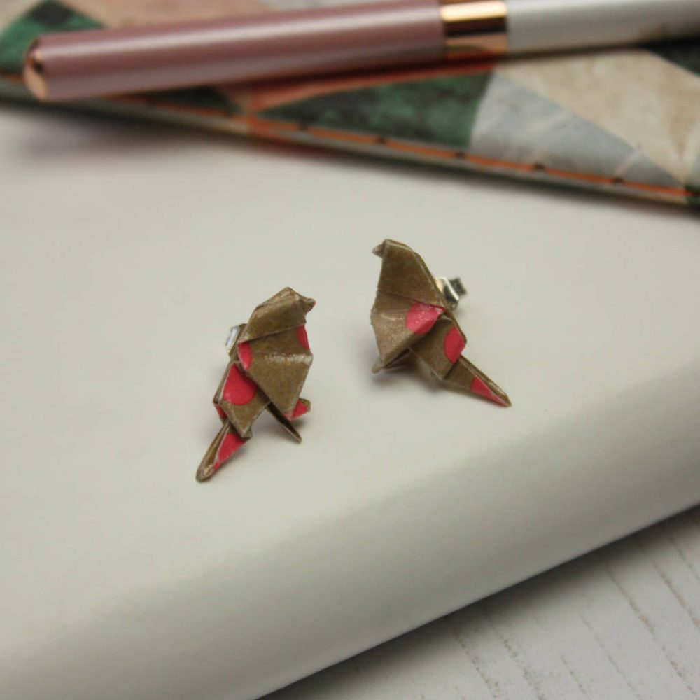 Birdie stud origami water resistant earrings. Folded by hand at the origami boutique, London.