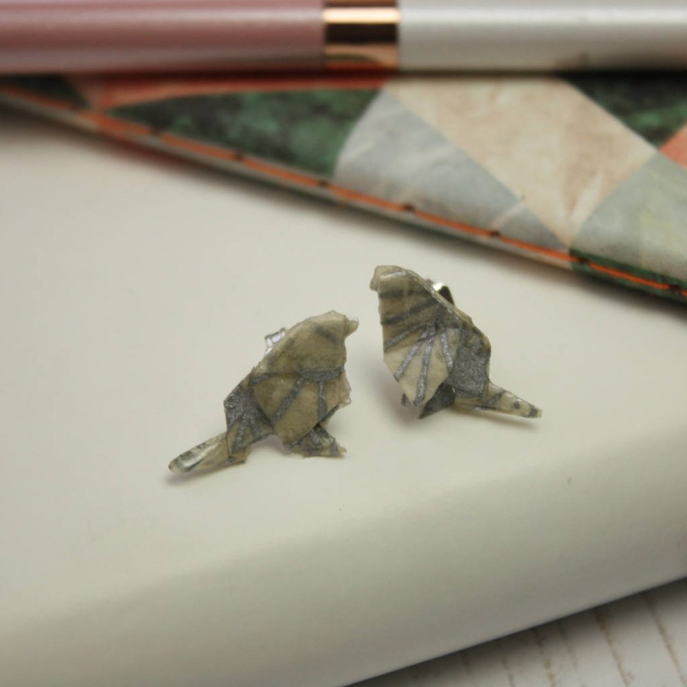 Origami bird earrings, in silver geometric pattern, by the origami boutique London.