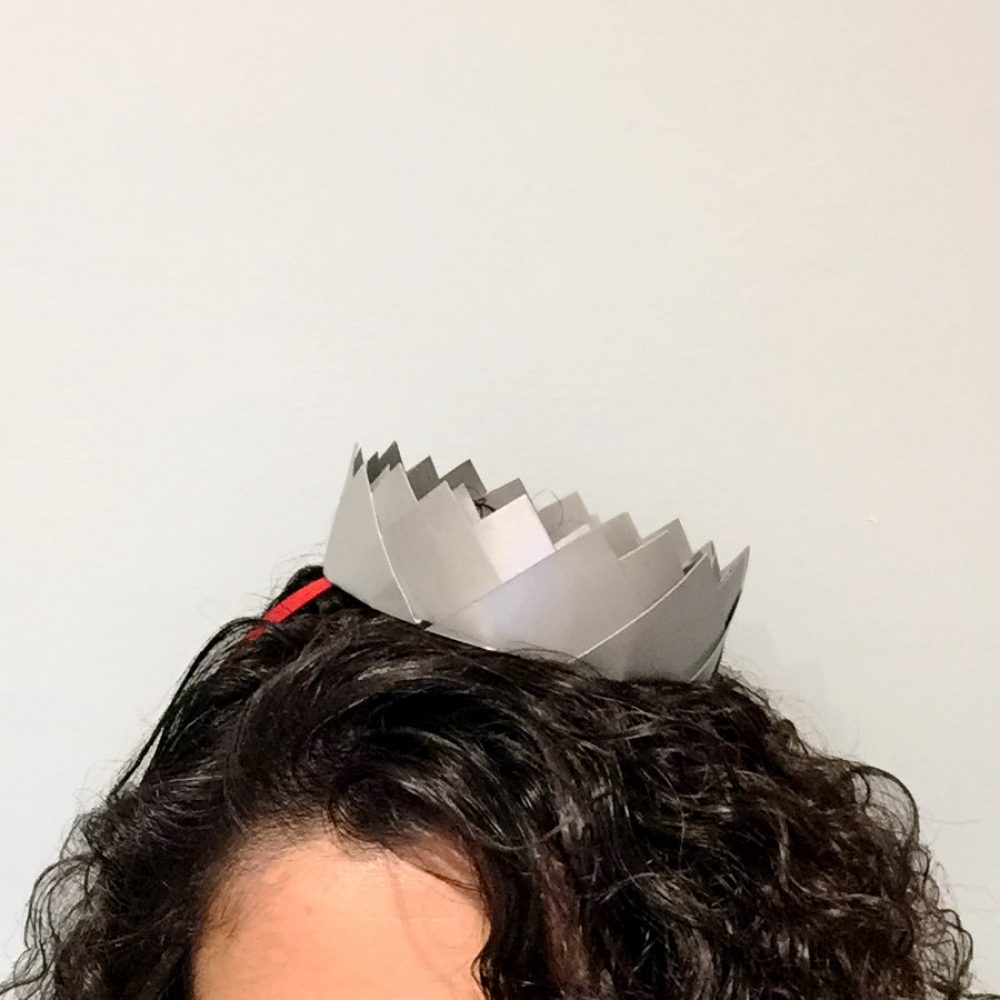Origami crown metallic silver party hat. Party hat for the birthday princess, or prince. Handmade in London, by the origami boutique.