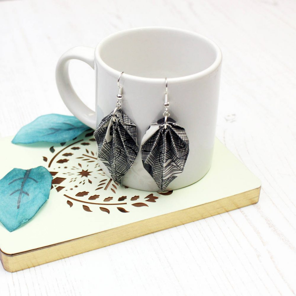 Scraffito origami earrings. Lightweight leaves makes for comfortable jewellery. Handmade by the origami boutique.