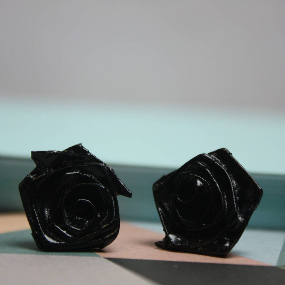 Black rose origami earrings, water resistant jewellery, hand folded by the origami boutique.