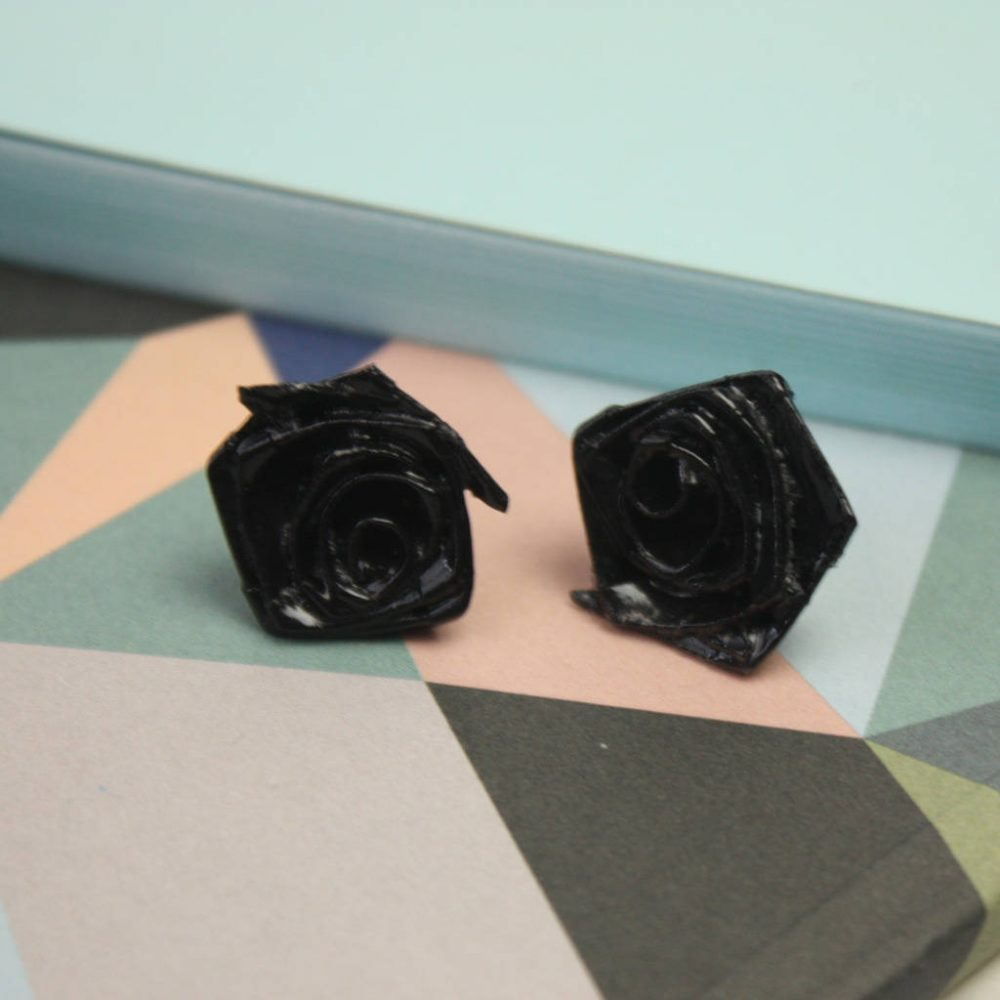 Bird earrings, hand folded roses, at the origami boutique.
