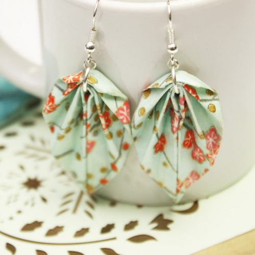 Spring orange blossom leaf earrings, leight weight origami jewellery, by the origami boutique.