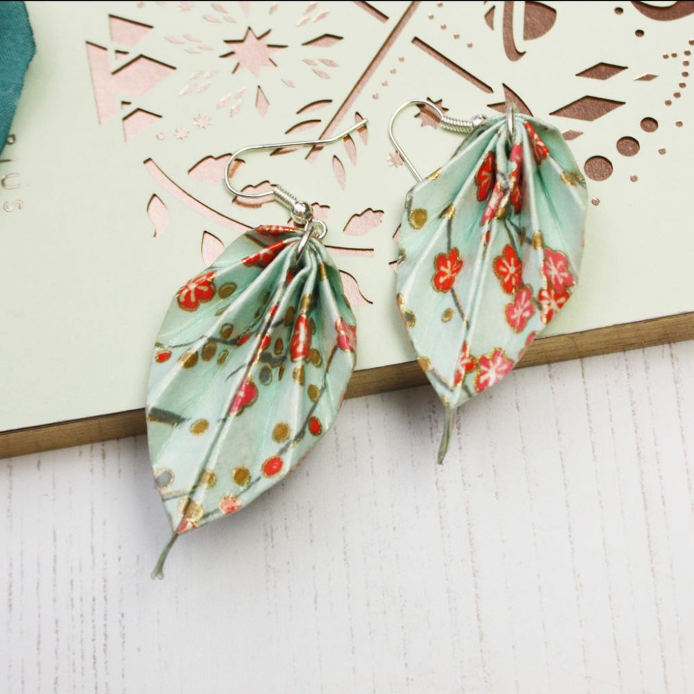 Spring orange blossom leaf earrings, leight weight and versatile origami jewellery, by the origami boutique.
