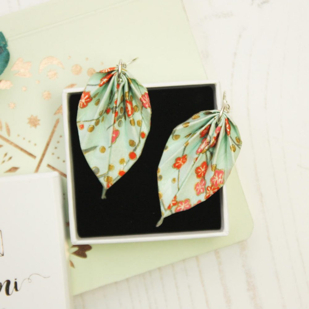 Blossom leaf earrings, with white gift box, handmade by the origami boutqiue.
