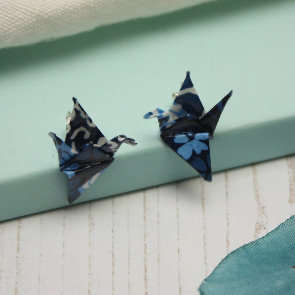 Blue patchwork, origami, crane earrings. Handfolded stud earrings, by the origami boutique.