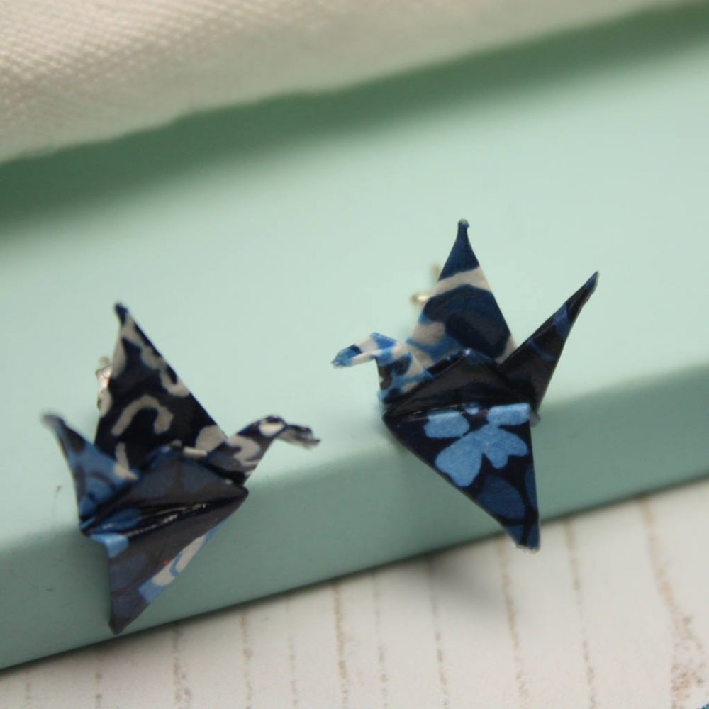 Blue patchwork, origami, crane earrings. Handfolded stud earrings, by the origami boutique, London.