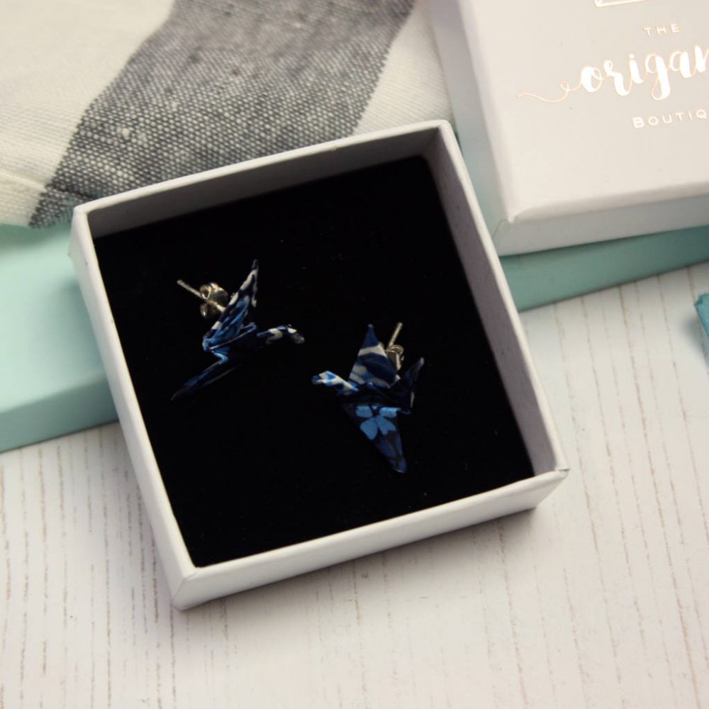 Blue patchwork, origami, crane earrings. Handfolded stud earrings, by the origami boutique. In gold foil.