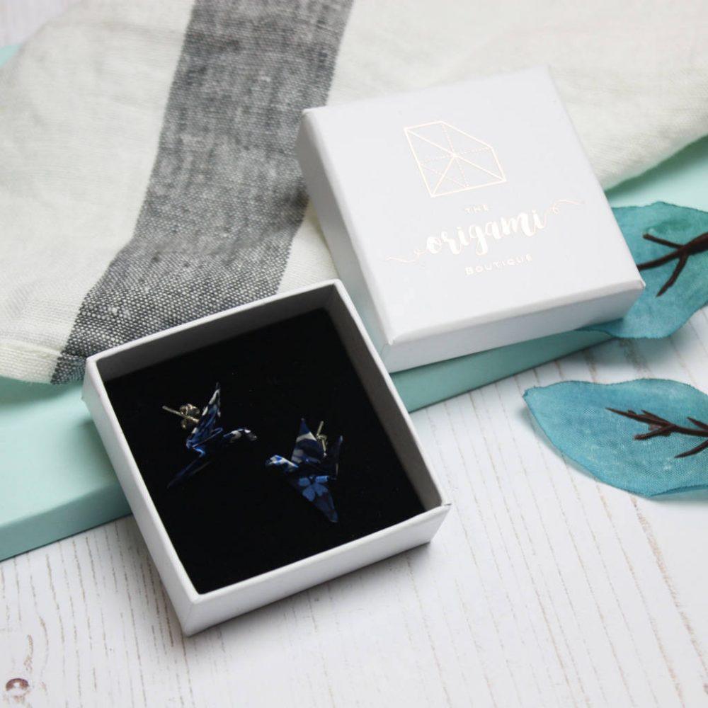 Blue patchwork, origami, crane earrings. Handfolded stud earrings, by the origami boutique, delivered in gold foil box.