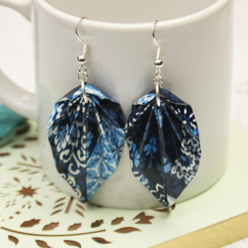 Blue patchwork leaf earrings, hand folded by the origami boutique.