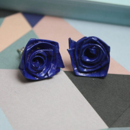 Royal blue origami rose earrings, by the origami boutique.