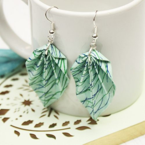 Origami leaf earrings, in a sea grass pattern, made from water resistant paper. Hand made by the origami boutique.
