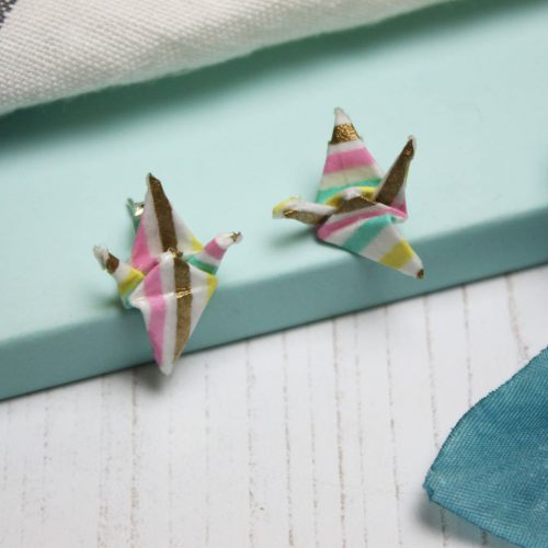Candy stripe crane earrings, hand folded by the origami boutique.