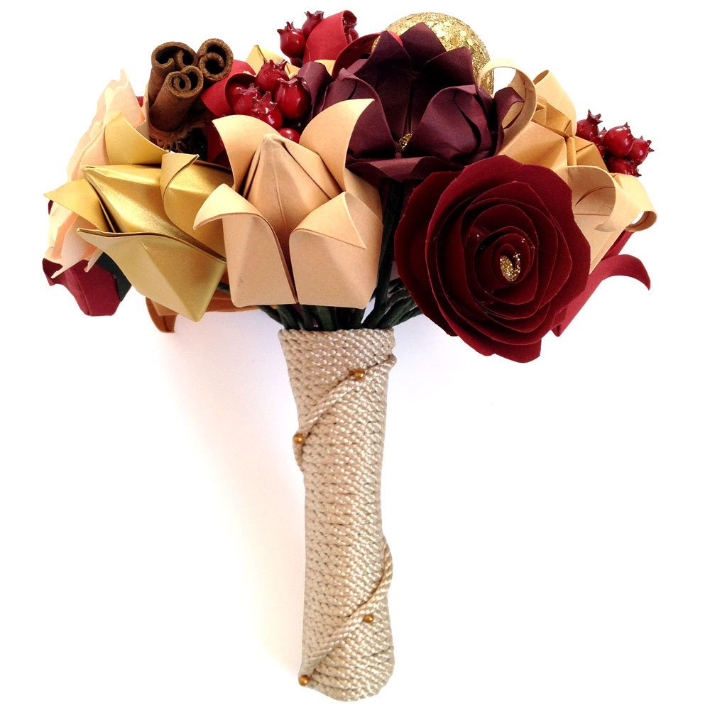 Christmas flowers origami bouquet, in reds, golds, and glitter. Handmade by the origami boutique, London.