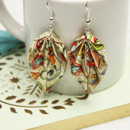 Colourful abstract hanging, leaf earrings. Hand folded by the origami boutique, London.