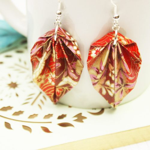 Oppulant red, pink and gold floral, hanging leaf, earrings. Water resistant, and hand folded by the Origami Boutique, London.