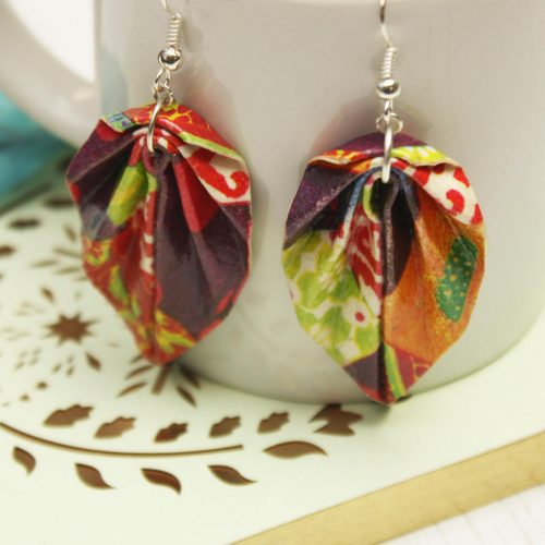 Colourful patchwork, origami leaf earrings. Water resistant jewellery by the origami boutique.