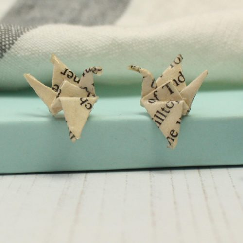 Crane earrings in recycled book pages, folded with love by the origami boutique.