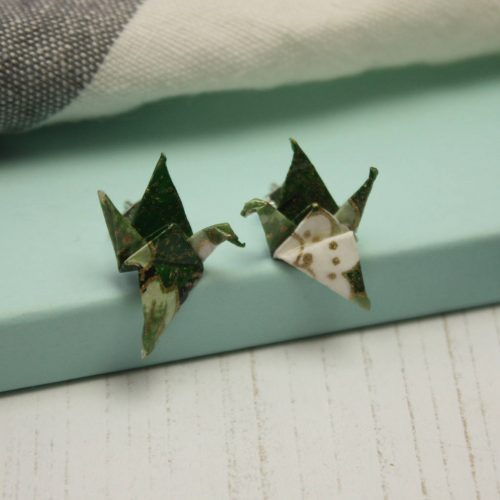 Green foliage pattern crane stud earrings. Handmade by the origami boutique.