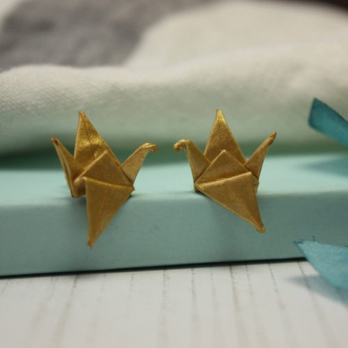 Metallic gold, origami crane earrings. Hand folded by the Origami Boutique, London.