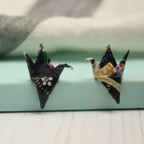 Navy floral crane earrings. Water resistant origami, by the origami boutique.