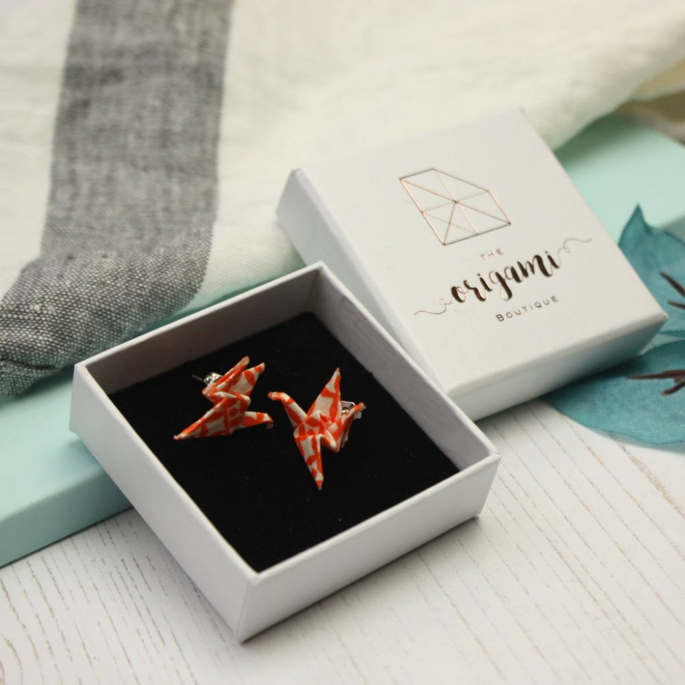 Scandi design, origami crane earrings, in white presentation box- the origami boutique, London.