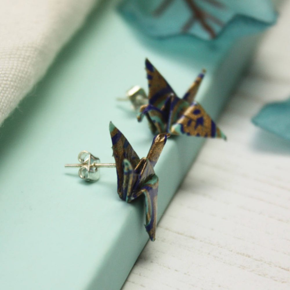 Paper origami crane earings, in blues and gold, by the origami boutique.