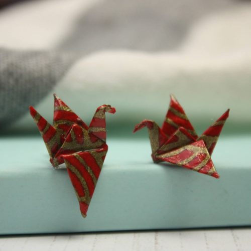 Origami crane earrings, from the origami boutique.