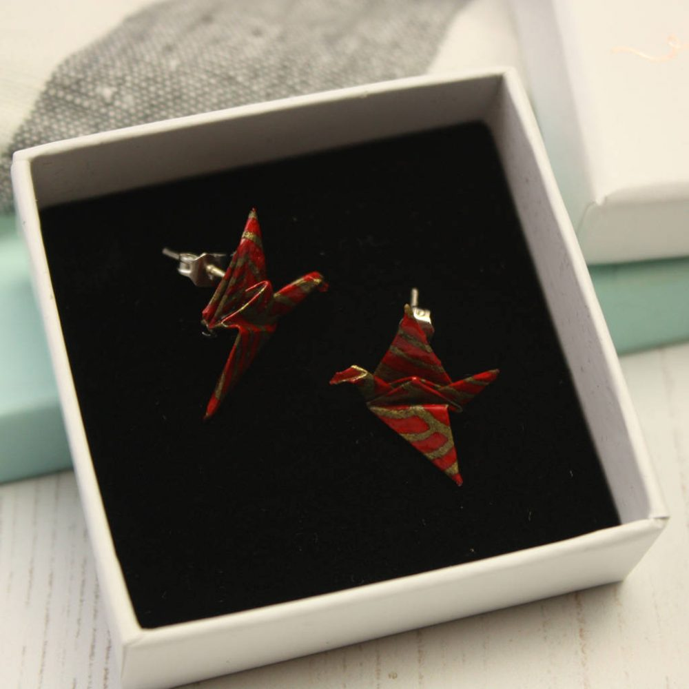 Origami crane earrings, from the origami boutique, in gift box.